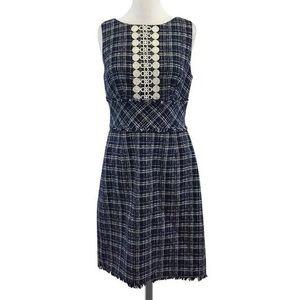 Trina Turk Blue and White Sleeveless Tweed Dress